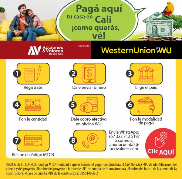 Wester Union pagos en línea Constructora el Castillo