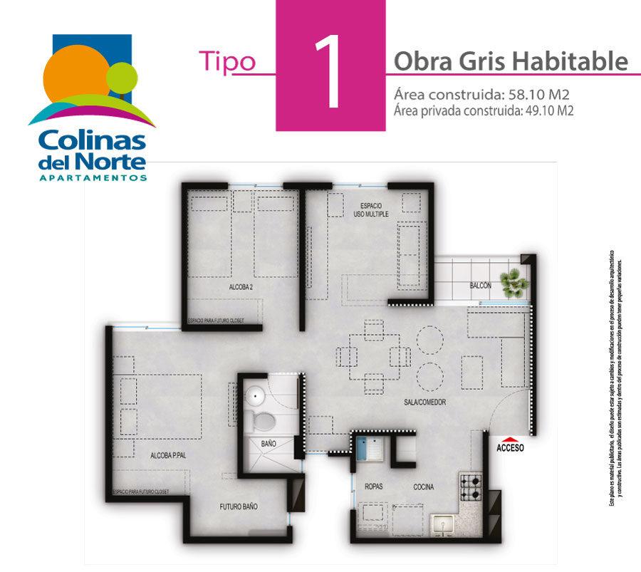 Apartamento Tipo 1 Gris Habitable