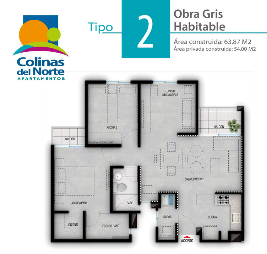 Apartamento Tipo 2 Gris Habitable